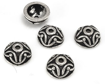 Silver Bead Caps Antique 10mm silver plated Bali bead caps for jewelry making 5pcs