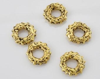 11mm artisan handmade Closed jump ring, dotted jump rings, antique gold plated jumprings, Gold jump rings 5pcs