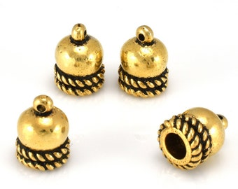 Gold End Caps with loop, Kumihimo End caps for leather cord, tassel caps, antique gold plated glue in caps, 4mm hole end caps