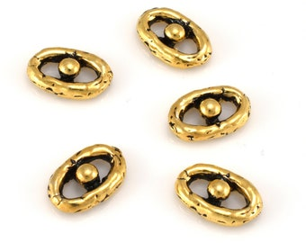 artisan gold connector links for jewelry making links, bracelet links 10x9mm / 5 pieces