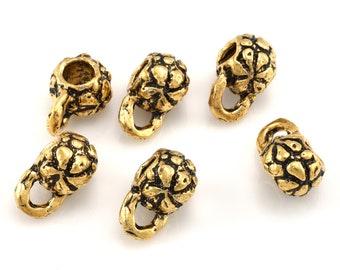 Gold Bails Necklace Bails pendant Bails artisan charm holder flower bails, dangle Bails, 3mm hole jewelry bails leather cord