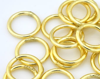35pcs - Gold tone color enamel closed jump rings for jewelry making - Bulk Jumprings -16 Gauge AWG - 10mm Gold Jump Rings - jewelry findings