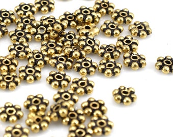 116 pcs gold plated daisy spacer beads, Bali style flower spacer beads, flat antique gold tone color spacers, jewelry findings 3mm