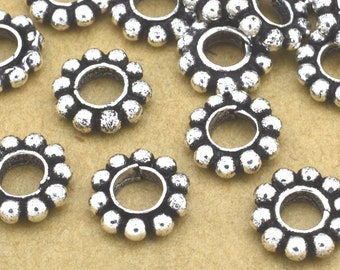 23 Silver heishi beads -8mm Large Hole Silver Plated Daisy Spacer Beads, antique silver Bali spacer beads for jewelry making / 3.5 hole