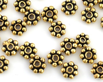 59 Gold beads, Beaded daisy spacers, Gold Plated spacers, Bali style beaded Heishi spacers, antique gold finish 5mm