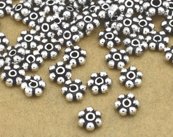 110pcs Silver Plated Spacers, silver flower spacers, Bali silver daisy spacers for jewelry making, antique silver spacer findings 3mm spacer
