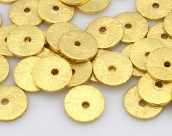 6mm - 60pcs Gold flat disc spacers, Brushed Disk heishi spacers beads, Gold plated disk beads for jewelry making