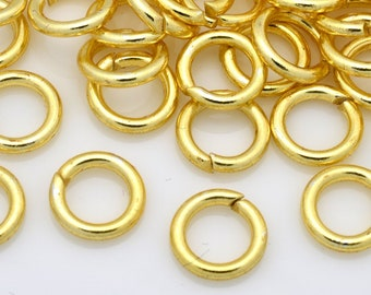 55 Gold Jump Rings for chainmaille jewelry, open round Jumprings, gold plated handmade O rings, links, connectors, 16 Gauge AWG - 7mm