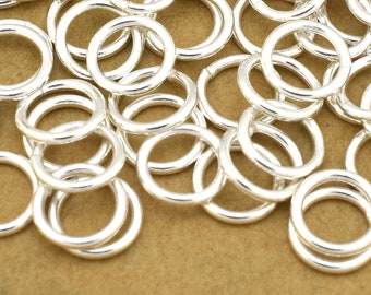 94 Silver jump rings - Saw cut jumprings - 19 Gauge (AWG) - 7mm silver plated open jump ring for jewelry making O rings for chain maille