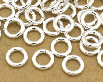 66 Silver Jump Rings, Saw Cut Open jumprings for chain mail bracelet chainmail or chainmaille, O rings connectors - 18 Gauge - 6mm