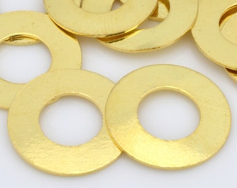 10 Gold Washers stamping blanks for jewelry making, Gold plated flat circles, jewelry connectors 16mm / 8mm hole