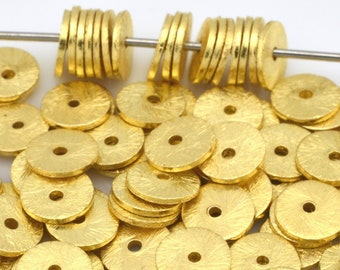 4mm - 80pcs Gold Vermeil Flat disc spacer, Gold plated heishi beads, brushed spacer beads for jewelry making disk spacers
