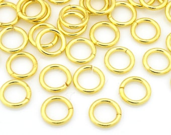82 Gold jump rings, Saw Cut Round Open Jumprings, Gold plated O ring connectors, links for chainmail jewelry, chainmaille - 5mm - 20 gauge