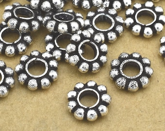 7.5mm Large Hole Silver Daisy Spacer Beads, Silver plated flower spacers, 7mm Bali Silver spacers for jewelry making, 3.5mm hole / 26pcs