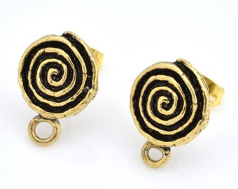 Spiral Gold plated Ear studs , Earring making studs, earring findings, earring supplies, dangle ear studs, antique gold earring parts