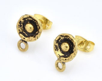 Gold plated Ear studs, Earring making studs, earring findings, earring supplies, dangle ear studs, earring parts