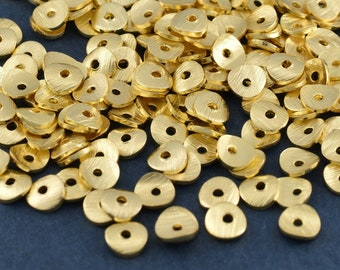 4mm - 168 pcs Gold plated wavy disc spacers, brushed wavy potato chips, Metal disk Beads, heishi spacers Bulk