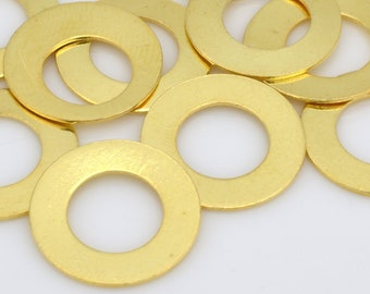 Gold Washer stamping blanks, flat circles for jewelry making 14mm / 8mm hole - 10pcs