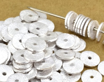 6mm - 177pcs Flat silver disc spacers - Brushed Disk spacer beads - jewelry heishi spacers for jewelry making