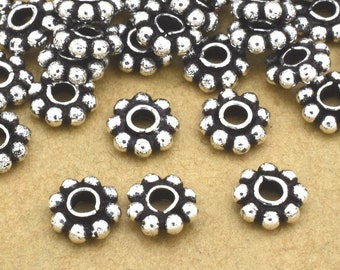 6mm - 15pcs Sterling Silver Daisy Spacer Beads, Bali spacer beads, antique flower spacers, heishi spacers 1.5mm