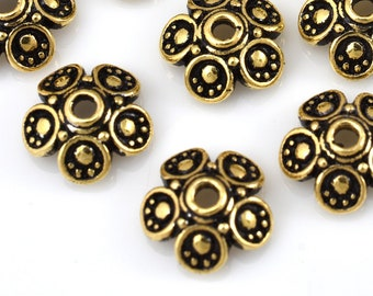 15 Gold plated bead caps for jewelry making, Bali Style caps 8mm / 15pcs