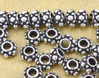5mm -5pcs Sterling Silver spacer beads, Bali style antique silver finish silver beads