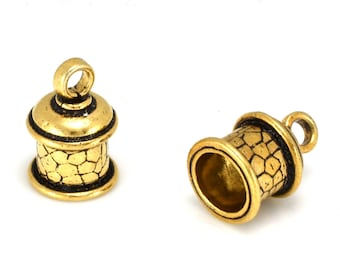 8mm Gold Plated End Caps with loop for leather cord, tassel caps, kumihimo cord ends, glue in caps, 8mm hole, 2pcs