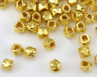 2.5mm - 61pc Tiny gold plated spacer beads for jewelry making, faceted spacer beads, Diamond cut spacer beads