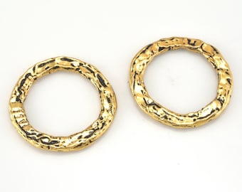 22mm Large Gold Necklace Washer, Round Gold Circles, Connector Rings Artisan organic links, Link charms, handmade jewelry making 2pcs - 16mm