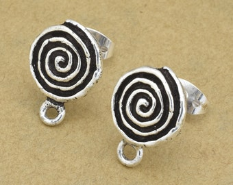 Spiral Earring making studs, Sterling silver post soldered on Silver plated studs, dangle earring posts with loop, earring making parts 2pcs