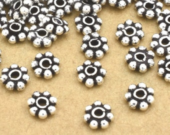 5mm - 25pcs Sterling Silver Daisy spacer beads, Bali silver spacers for jewelry making, antique finish, heishi spacers, flower spacers