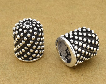 2 pcs - 13mm  Silver plated end caps for jewelry making
