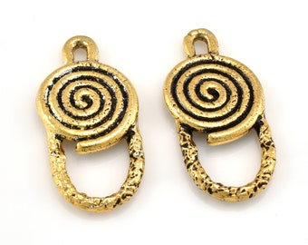 Gold earring hoops vermeil 12x26mm gold plated spiral design earring making component, artisan handmade, 1 pair