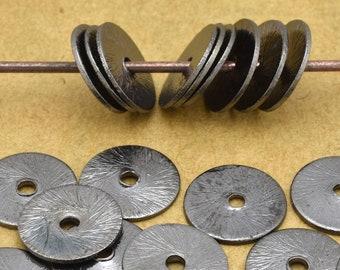 Black flat disc, gunmetal Disk spacers, brushed finish spacer beads 25 pcs -  10mm