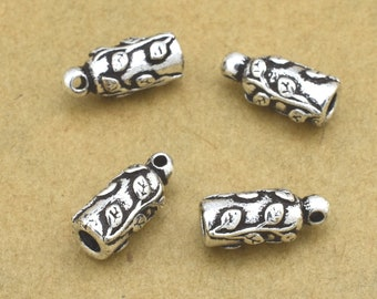 silver end caps - 11mm - 4pcs antique Silver plated cord ends caps for jewelry making - 2mm hole