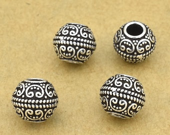 2pcs - 8mm Sterling Silver Bali Beads, 925 silver spacer beads for jewelry making, large hole beads, filigree beads, 3mm hole silver beads