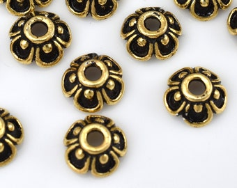 20 Gold plated bead caps for jewelry making, antique finish, Bali style 7mm