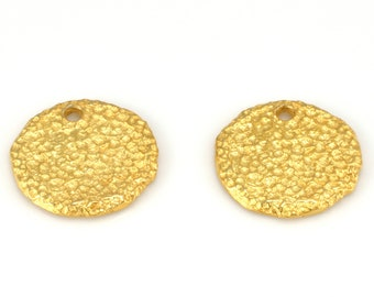 2 gold plated flat disc charms, artisan handmade rustic disk charms with hole 17mm round