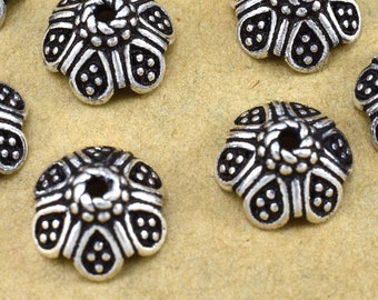 10mm - 4pcs Bali Sterling Silver Bead Caps, Flower bead caps for Jewelry Making,  Antique Silver bead caps