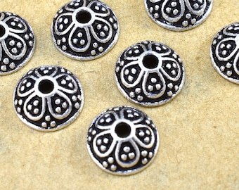 9mm (10) silver bead caps for jewelry making, antique silver plated bead caps, Bali Style metal bead caps, pewter bead caps, beadcaps 10pcs