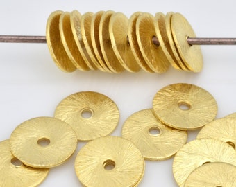 10mm - 11pcs Gold Vermeil flat disc spacer beads, brushed finish heishi spacers for jewelry making, gold plating on 925 sterling silver