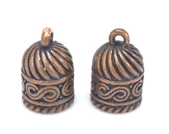 Antique copper Kumihimo End Caps for jewelry making, aged copper metal endcap for leather cord, tassel caps, glue in caps 5.5mm hole