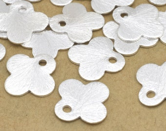 20pc Flat Silver plated brushed charms for jewelry making - dangle charms with hole 12mm