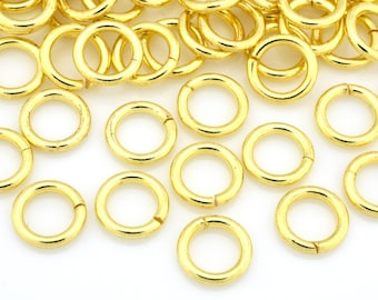 93 Gold Jump Rings, Saw Cut Bulk Gold plated Jumprings, Handmade O rings, links and connectors 6mm 18 gauge AWG