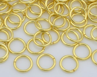 132 Gold Jump Rings, Saw Cut handmade Gold open jump rings for chain mail bracelet chainmail or chainmaille, O rings - 20 Gauge AWG - 6mm