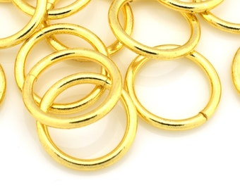10 Large Gold Jump Rings, Saw Cut Handmade, Bulk Open Jumprings for chainmaille, O rings for chain mail jewelry Connectors 14 Gauge / 15mm