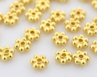 3mm - 62pcs Gold Vermeil Daisy Spacers, Heishi spacers, Bali Gold Spacer beads, flower spacers for jewelry making