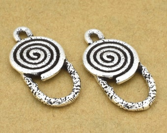 Silver plated Chandelier Earring component hoops - Artisan findings - Earring Making Supply, Spiral design, antique finish 2pcs - 12x26mm