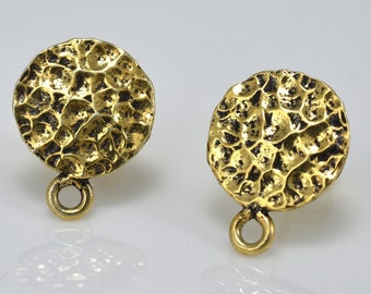 Gold plated ear stud post, antique finish earring making findings with sterling silver post 1 pair