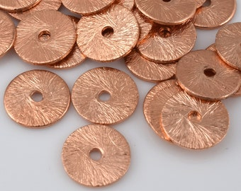 Flat copper disc spacers, brushed finish shiny copper disk spacer beads for jewelry making 38 pcs -  8mm